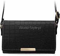 10-19 Черная изящная женская сумочка клатч тиснение кожа крокодила 5902734918093