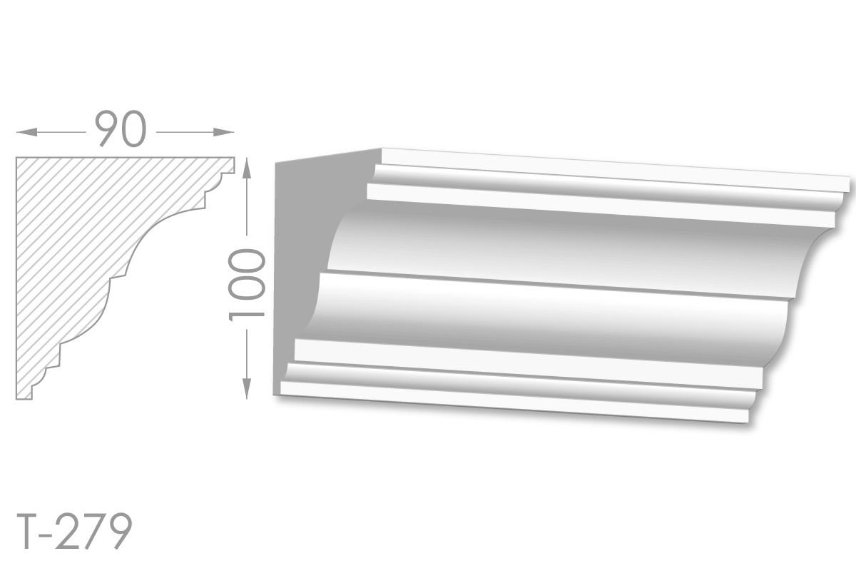 Карниз с гладким профилем, молдинг потолочный из гипса т-279