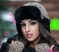 Комплект №181 шапка ушанка + митенки (9 цв), шапки оптом, в розницу, шапки от производителя