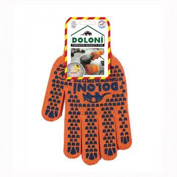 Перчатки Doloni с ПВХ рисунком оранжевые