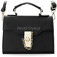 02-18 Черная милая маленькая женская сумочка-сундучок золотой кулон 5902633837143