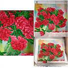 Алмазна вишивка, букет червоних півоній 30х30 см, часткова викладка, фото 2