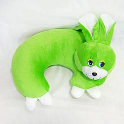 Мягкая игрушка Подушка Рожок заяц зеленый