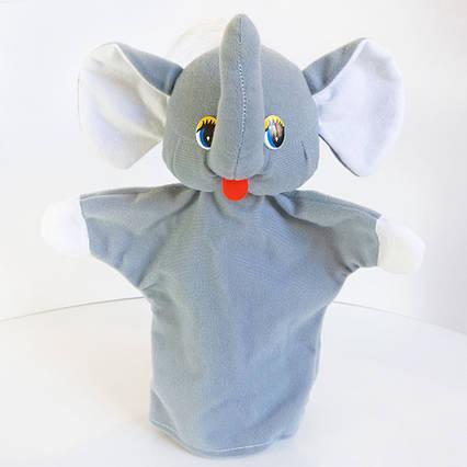 Мягкая плюшевая кукла Игрушка рукавичка на руку Слон (кукольный театр)28 см