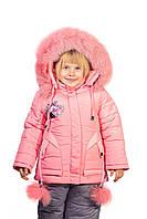 Детский теплый зимний комбинезон для девочки розового цвета