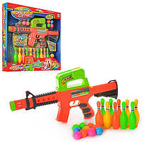 Игрушечное оружие игров Автомат шарики 648W - 41см, стреляет шариками, шарики 10шт, кегли 10шт, в коробке