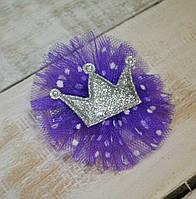 Коронка заколка серебренная с фиолетовым