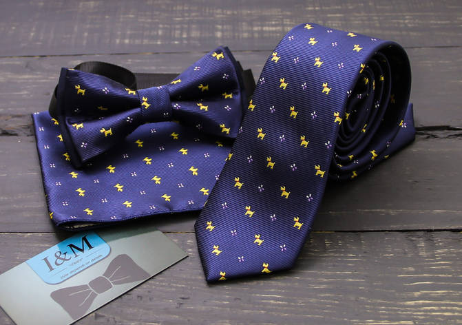 Комплект галстук, бабочка, платок паше I&M (0202001) темно-синий, фото 2