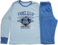 Пижама подростковая для мальчика, голубая кофта и синие брюки, рост 152 см, Фламинго
