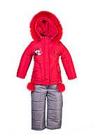Детский зимний комбинезон для девочки красного цвета