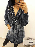 Стильный женский кардиган плотный котон под джинс варенка (камни,жемчуг)