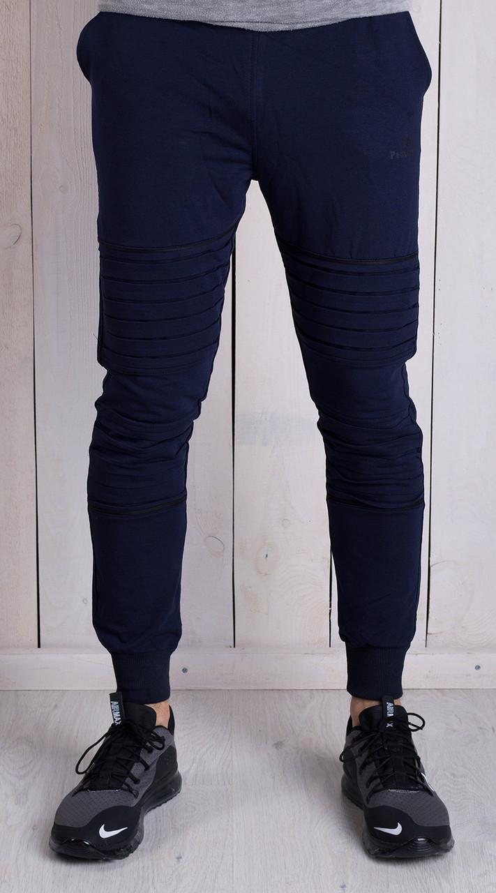 Спортивные осенние мужские штаны синие -
