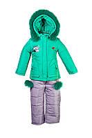 Детский теплый зимний комбинезон для девочки зеленого цвета