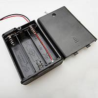 """Корпус батареек x3""""АА"""" с крышкой и перекл. ON-OFF, 64x48х19мм, провод"""