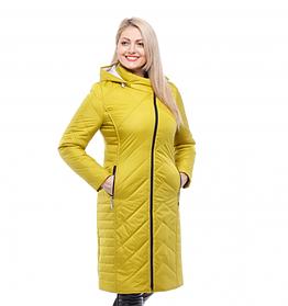 Длинная стеганная куртка на гипоаалергенном силиконе размер 46-60 цвет белый пломбир
