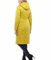 Белое стеганое пальто на осень весну 48-60 теплое, ниже колена, фото 3