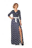 Женское длинное платье с запахом из бархата принтованное горохом цвет синий размер 44-52
