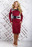 Женское cтильное платье со вставками из эко-кожи 2334 цвет марсала размер 50-56 / большие размеры