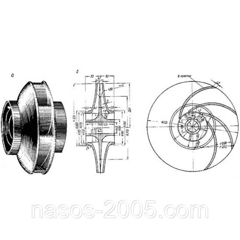 Рабочее колесо насоса 2СМ 200-150-500, запчасти насоса 2СМ 200-150-500