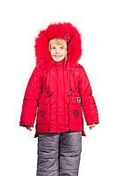Детский теплый зимний комбинезон для девочки 2-3-4 годика красный