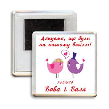 """Свадебный акриловый сувенирный магнит на холодильник """"Птички"""""""