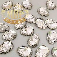 Стразы-черепа, размер 8х6 mm, цвет Crystal, цена за 1шт