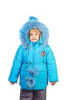 Детский теплый зимний комбинезон для девочки 3-4-5 лет голубой
