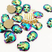 Стразы-черепа, размер 8х6 mm, цвет Green Scarabeus, цена за 1шт