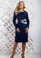 Женское cтильное платье со вставками из эко-кожи 2334 цвет синий размер 50-56 / большие размеры