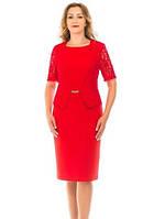 Стильное красное батальное платье