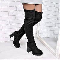 Сапоги женские ботфорты Elza черные зима 3707, обувь днепр