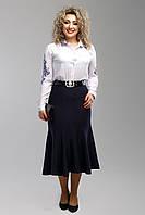 Женская юбка ниже колена 2006 цвет синий размер 50-58