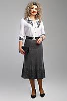 Женская юбка средней длины 2003 цвет серый размер 52-58