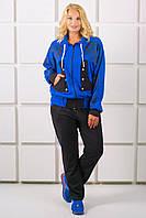 Женский костюм комбинированный двух-цветный Нейли цвет электрик размер 54-64