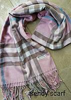 Женский шарф палантин Burberry Бренд. Светло розовый, серый, голубой.Фирменый принт. Барбари.Пашмина180\70