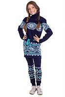 """Вязанный комплект: туника + гамаши """"Берегиня"""" для девочки, цвет темно-синий с бирюзой"""