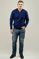 Мужской свитер с декоративными пуговицами Себостьян, цвет синий / размерный ряд 50,52