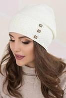 Вязаная теплая женская шапочка белая Есения