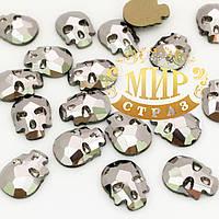 Стразы-черепа, размер 10х8 mm, цвет Hematite, цена за 1шт
