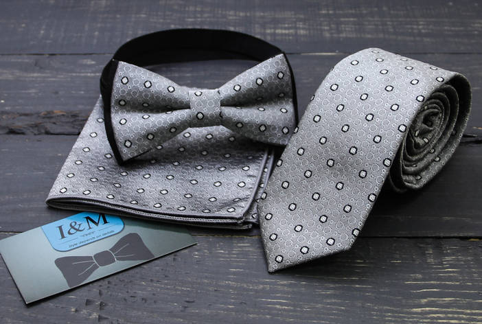Комплект галстук, бабочка, платок паше I&M (0202002) серый, фото 2