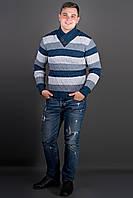 Мужской повседневный свитер в полоску Рубин, цвет синий / размерный ряд 48,50,52