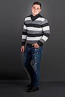 Мужской повседневный свитер в полоску Рубин, цвет черный / размерный ряд 48,50,52