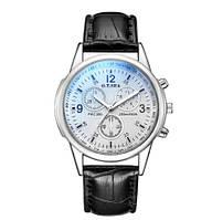 Чоловічий стильний годинник з білим циферблатом (ч-9)