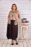 Женское платье макси 0623 цвет коричневый / размер 42-74 / батальное