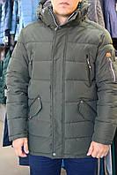 Куртка мужск. зима  BLACK VINYL C17-968 зеленый.хаки мех искус