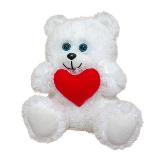 Мягкая игрушка медвежонок с сердцем травка 28 см