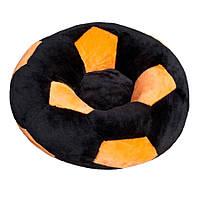 Детское мягкое кресло игрушка Мяч маленькое черно-оранжевое 60 см