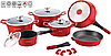 Набор посуды ROYALTY LINE RL ES-1014M красный,с гранитным покрытием