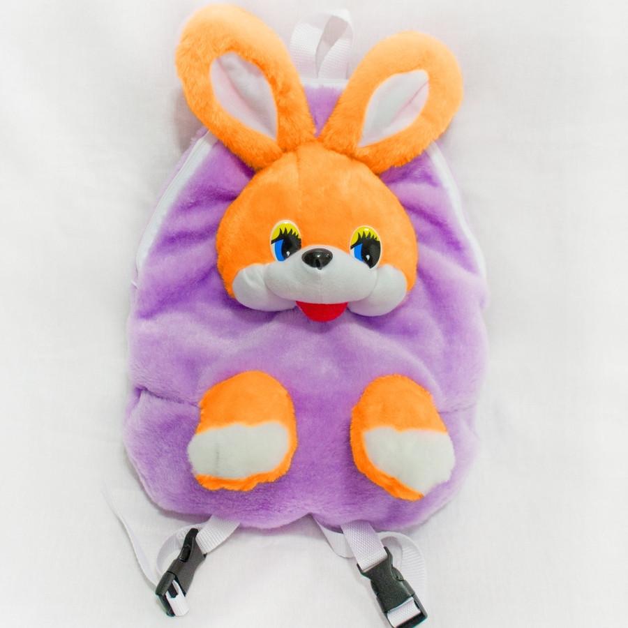 Рюкзак мягкий детский Заяц сиреневый 37 см