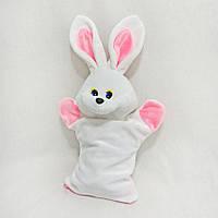 Мягкая рукавичка игрушка для конфет Заяц Снежок белый сумка мешок для конфет
